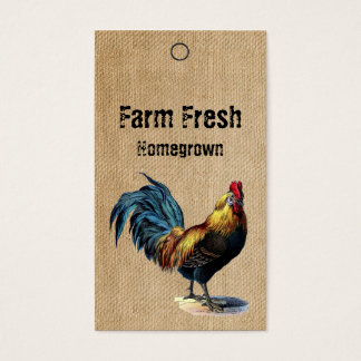 Burlap Vintage Rooster Homemade Price Tags Business Card