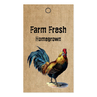 Burlap Vintage Rooster Homemade Price Tags Pack Of Standard Business Cards