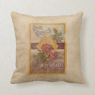 Burlap Vintage Roses Witch Hazel Advertisement Throw Pillow