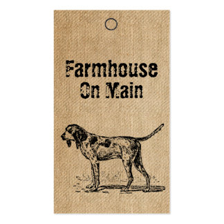 Burlap Vintage Style Hunting Dog Tags Business Card