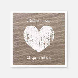 Burlap wedding napkins with rustic heart paper napkins