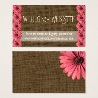 Burlap Wedding Website Cards | Rustic Floral Daisy
