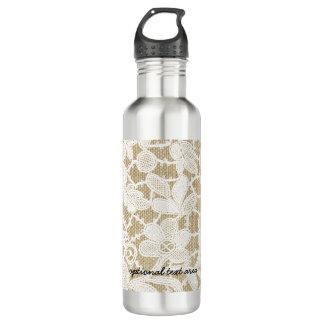 Burlap & White Floral Lace Elegant Rustic