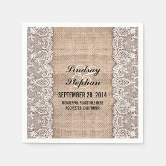 Burlap & white lace beautiful elegant paper napkin