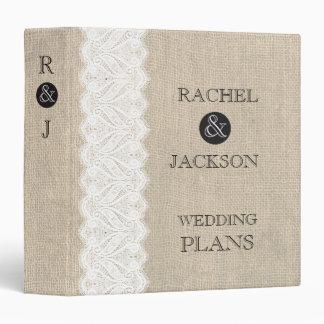 Burlap + White Lace Rustic Wedding Planner Binder