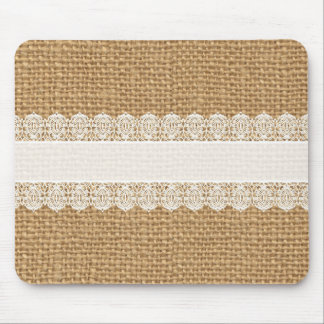 Burlap with Delicate Lace - Shabby Chic Style Mouse Pad