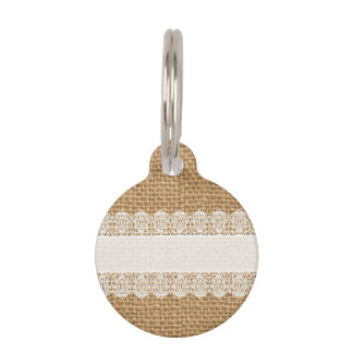 Burlap with Delicate Lace - Shabby Chic Style Pet Tag