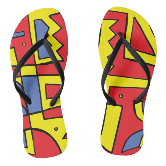 """Burlile"" Adult Flip Flops Yellow Red Blue"