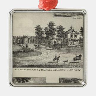 Burlington and Junction City, Kansas Silver-Colored Square Ornament