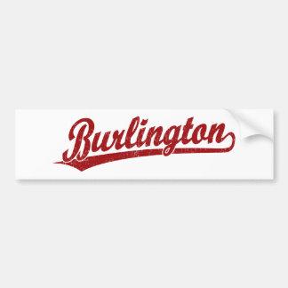 Burlington script logo in red bumper sticker