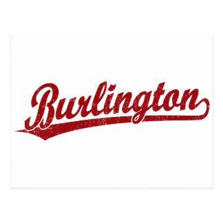 Burlington script logo in red postcard