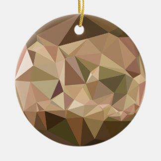 Burlywood Abstract Low Polygon Background Round Ceramic Ornament