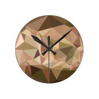 Burlywood Abstract Low Polygon Background Wallclocks
