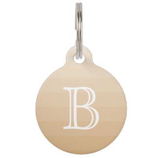 Burlywood Brown Tan Shades Monogram Initial Name Pet Tag
