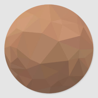 Burlywood Goldenrod Abstract Low Polygon Backgroun Round Sticker
