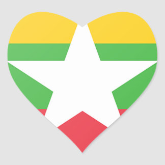 Burma Flag Heart Sticker