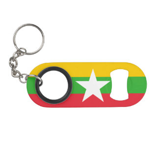Burma Flag Keychain Bottle Opener