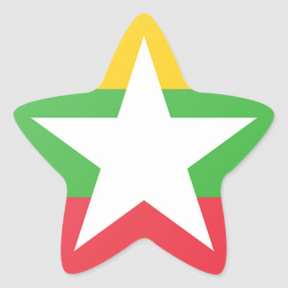Burma Flag Star Sticker
