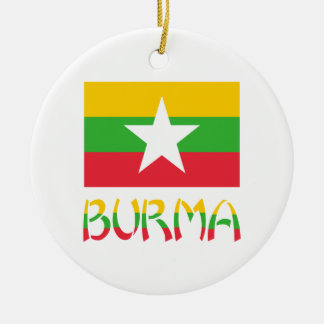 Burma Flag & Word Ceramic Ornament