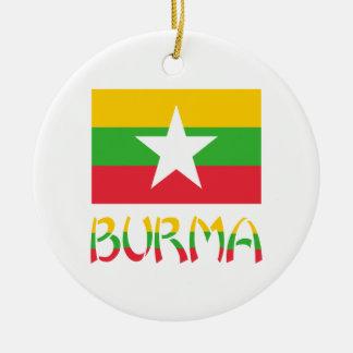 Burma Flag & Word Round Ceramic Ornament