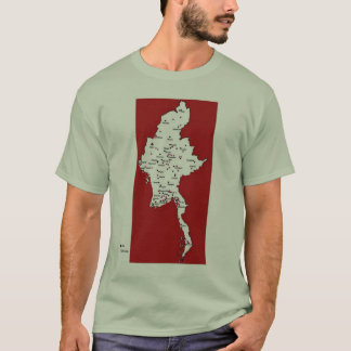 Burma map of prisons and labor camps T-Shirt