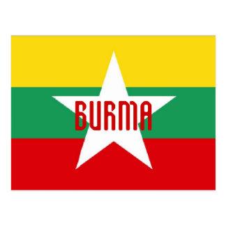 Burma Myanmar flag postcard