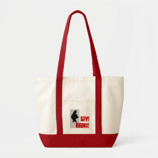 burmamap, save burma! tote bag red