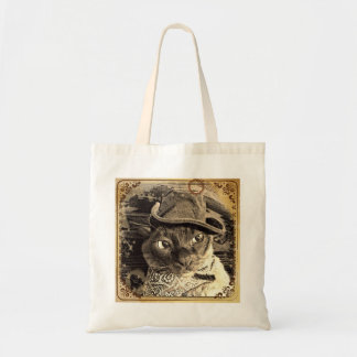 Burmese Cat in Western Attire, sepia, 2 Tote Bag