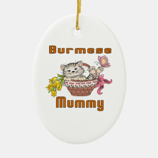 Burmese Cat Mom Ceramic Ornament