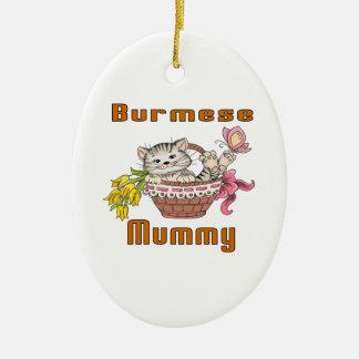 Burmese Cat Mom Ceramic Oval Ornament