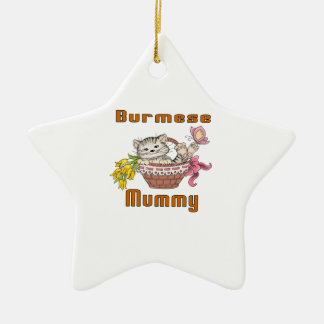 Burmese Cat Mom Ceramic Star Ornament