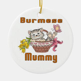 Burmese Cat Mom Round Ceramic Ornament