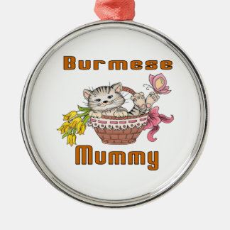 Burmese Cat Mom Silver-Colored Round Ornament