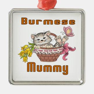 Burmese Cat Mom Silver-Colored Square Ornament