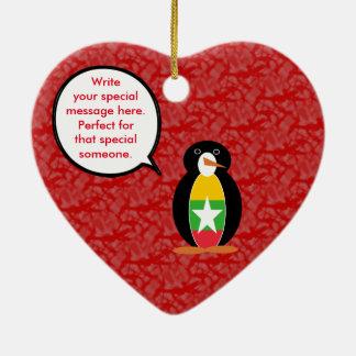Burmese or Myanmar Holiday Mr. Penguin Ceramic Heart Ornament