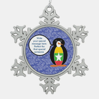 Burmese or Myanmar Holiday Mr. Penguin Pewter Snowflake Ornament