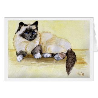 Burmese Seal Point Cat Card