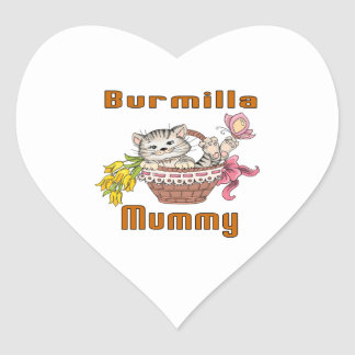 Burmilla Cat Mom Heart Sticker