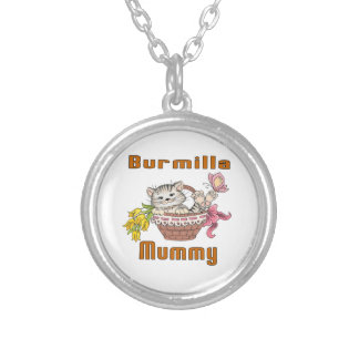 Burmilla Cat Mom Silver Plated Necklace