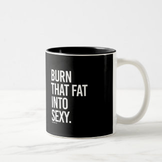 Burn that fat into sexy -   Training Fitness -.png Two-Tone Coffee Mug