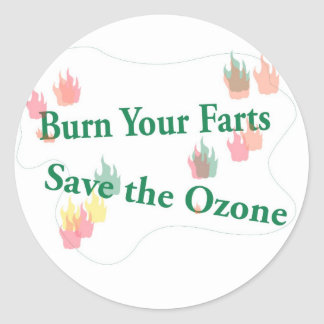burn your farts classic round sticker