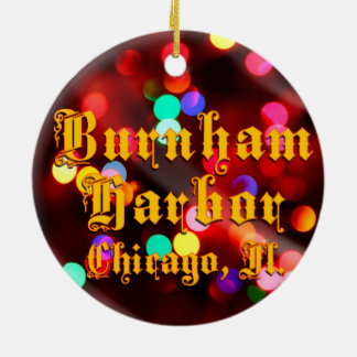 Burnham Harbor Chicago Lights Ceramic Ornament