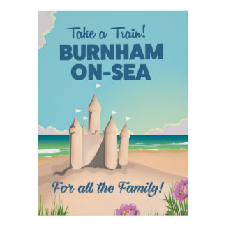 BURNHAM-ON-SEA sandcastle travel poster