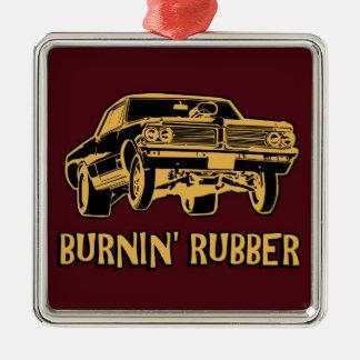 Burnin Rubber Silver-Colored Square Ornament