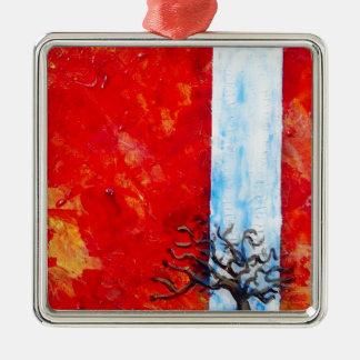 Burning Bush Metal Ornament