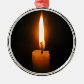 Burning Candle Silver-Colored Round Ornament