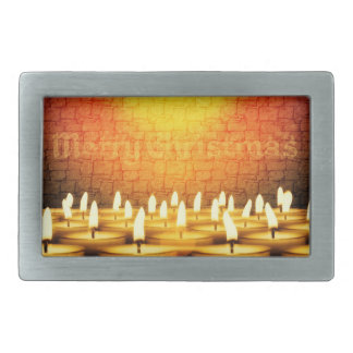 Burning candles - Merry Christmas Rectangular Belt Buckle