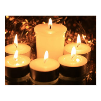 burning candles postcard
