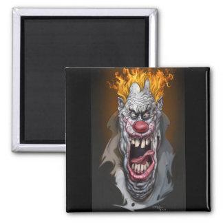 burning clown square magnet