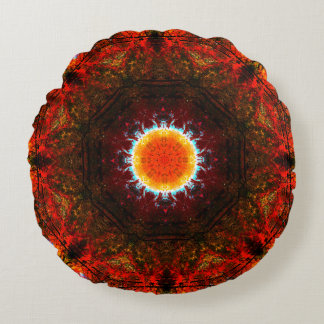 Burning Core Mandala Round Pillow